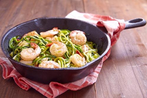Courgette spaghetti met garnalen