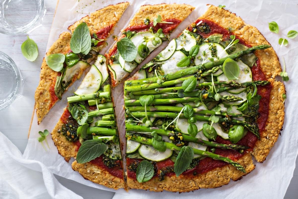 Bloemkool Pizza met Groene Groenten
